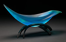 Elliptical Vessel in Aqua by Brian Russell (Art Glass Vessel)