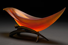Elliptical Vessel in Semillon and Red Orange by Brian Russell (Art Glass Vessel)