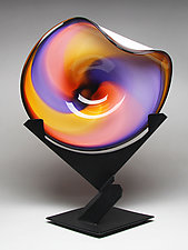 Sunset Wave Bowl by Janet Nicholson and Rick Nicholson (Art Glass Vessel & Steel Stand)
