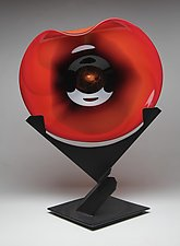 Red Wave Sculpture by Janet Nicholson and Rick Nicholson (Art Glass Sculpture)