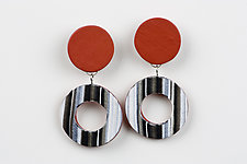Nikki Earring in Red by Klara Borbas (Polymer Clay Earrings)