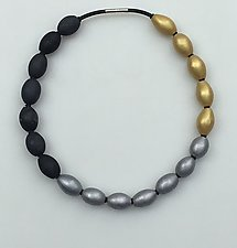 Charcoal, Silver, and Gold Necklace by Klara Borbas (Polymer Clay Necklace)