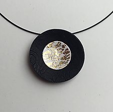 Gold Circle Pendant by Klara Borbas (Polymer Clay Necklace)