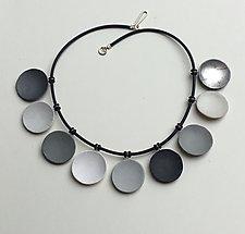 Nine Gray Disc Necklace by Klara Borbas (Polymer Clay Necklace)