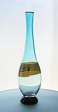 Enso Tall Vase in Ice Blue by Richard S. Jones (Art Glass Vase)