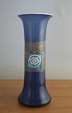 Kan-Nuki Vase in Blue by Richard S. Jones (Art Glass Vase)
