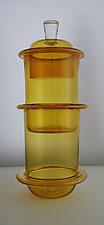 Double Chambered Gold Ring Jar by Richard S. Jones (Art Glass Vessel)