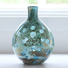 Blue Lens Bottle by Richard S. Jones (Art Glass Vase)