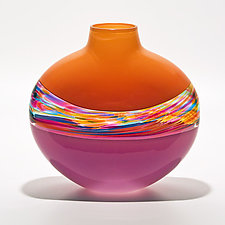 Transparent Flat Banded Vortex Vase in Tangerine, Florida, and Raspberry by Michael Trimpol and Monique LaJeunesse (Art Glass Vase)