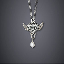 Winged Eye Necklace by Dawn Estrin (Silver & Pearl Necklace)