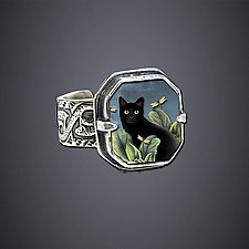Black Cat Ring by Dawn Estrin (Silver Ring)