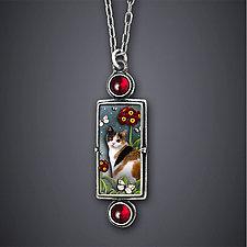 Calico Cat Necklace by Dawn Estrin (Silver & Stone Necklace)