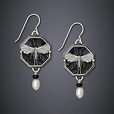 Night Moth Earrings by Dawn Estrin (Silver & Pearl Earrings)