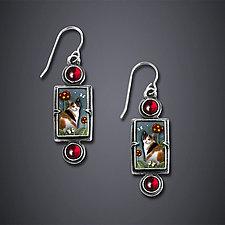Calico Cat Earrings by Dawn Estrin (Silver Earrings)