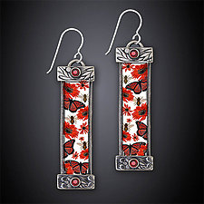 The Nature of Red Earrings by Dawn Estrin (Silver Earrings)