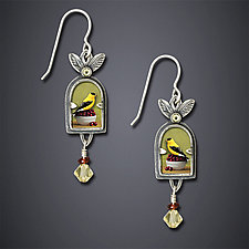 Goldfinch With Cherries Earrings by Dawn Estrin (Silver Earrings)