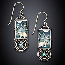 Winter Rabbit Earrings by Dawn Estrin (Silver & Stone Earrings)