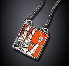Hand to Heart Necklace by Dawn Estrin (Silver Necklace)