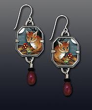Fox With Flowers Earrings by Dawn Estrin (Silver Earrings)
