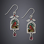 Tanager and Pomegranate Earrings by Dawn Estrin (Silver Earrings)