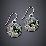 Black Cat Earrings by Dawn Estrin (Silver Earrings)