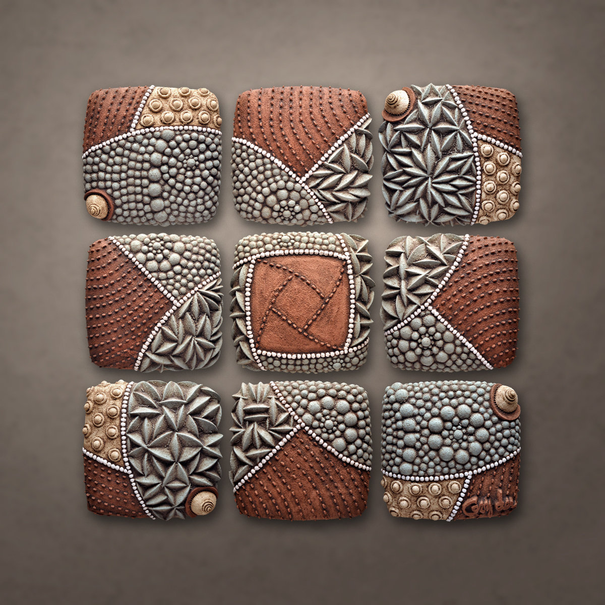 Pinwheel Pattern by Christopher Gryder (Ceramic Wall Sculpture ...
