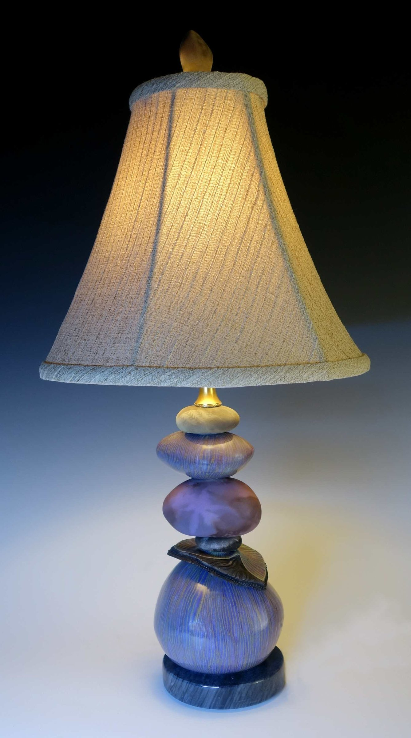 Small Cool Earth Cairn Lamp