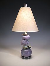 Small Cool Earth Cairn Lamp by Jan Jacque (Ceramic Table Lamp)