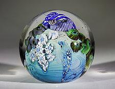 Inhabited Megaplanet, 3 inch by Josh Simpson (Art Glass Paperweight)