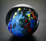 Inhabited Megaplanet, 4 inch by Josh Simpson (Art Glass Sculpture)