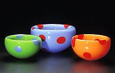Diablo Dot Bubble Bowls by Cristy Aloysi and Scott Graham (Art Glass Bowl)