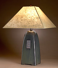 North Union Lamp in Onyx Glaze with Natural Lokta Shade by Jim Webb (Ceramic Lamp)
