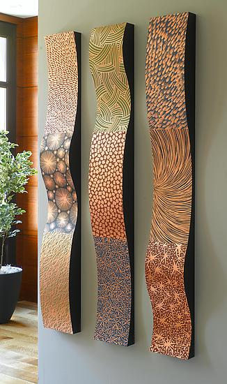 Copper wall ribbons by linda leviton metal wall sculpture for Wall hanging images