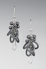 Hazy Afternoon Earrings by Lonna Keller (Silver, Pearl, & Rubber Earrings)