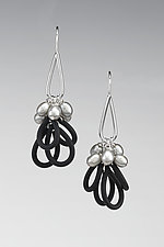 Hint of Spring Earrings by Lonna Keller (Silver, Pearl, & Rubber Earrings)