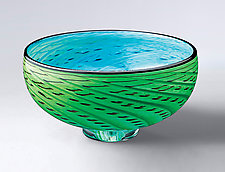 Storm Bowl: Green & Turquoise by Thomas Kelly (Art Glass Bowl)