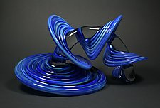 Blue and Green Mix Heechee Probe by Thomas Kelly (Art Glass Sculpture)