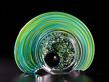 Celestial Geode - Green by Thomas Kelly (Art Glass Sculpture)