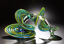 Blue and Yellow Mix Heechee Probe by Thomas Kelly (Art Glass Sculpture)