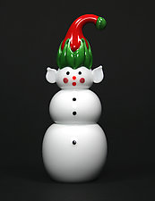 Elf Snowman by Thomas Kelly (Art Glass Paperweight)