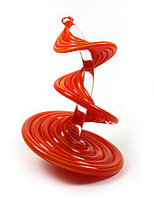 Orange Mix Heechee Probe on Clear Spine by Thomas Kelly (Art Glass Sculpture)