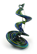 Blue Yellow Mix Heechee Probe on Clear Spine by Thomas Kelly (Art Glass Sculpture)