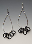 Large Teardrop Earrings by Lonna Keller (Silver & Neoprene Earrings)