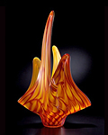 Pyroplasm: Yellow & Ruby by Thomas Kelly (Art Glass Sculpture)