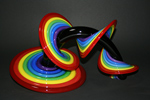 Rainbow Heechee Probe with Black Spine by Thomas Kelly (Art Glass Sculpture)