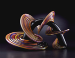 Black Confetti Heechee Probe by Thomas Kelly (Art Glass Sculpture)