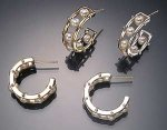 Tambourine Hoop Earrings by Patricia Madeja (Pearl, Silver & Gold Earrings)