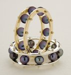 Black Pearl Tambourine Ring by Patricia Madeja (Gold or Silver & Pearl Ring)