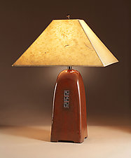 North Union Lamp in Russet Glaze with Natural Lokta Shade by Jim Webb (Ceramic Lamp)