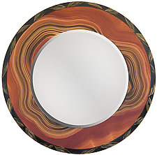 Peru Round Mirror by Ingela Noren and Daniel  Grant (Wood Mirror)